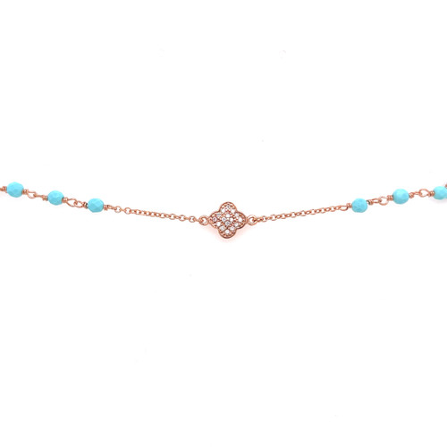 Cubic Clover & Turquoise Bead Bracelet - Rose Gold