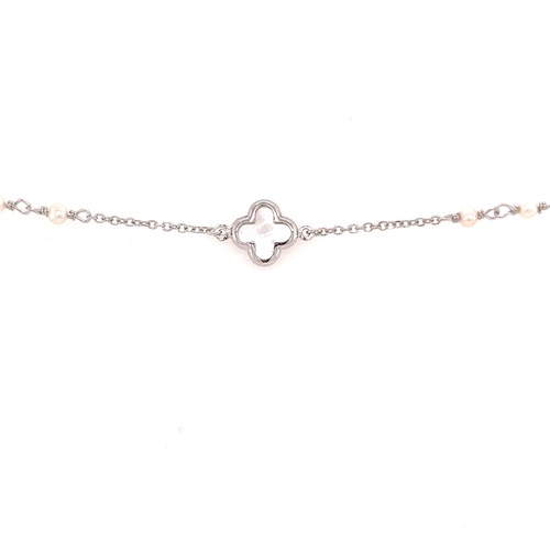 Mother of Pearl Clover & Pearl Bracelet - White Gold