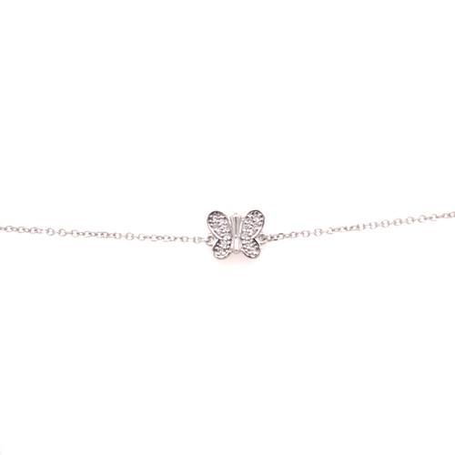 Butterfly Cubic Bracelet - White Gold