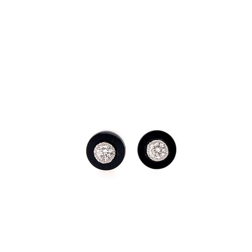 Circlet Onyx & Diamond Studs