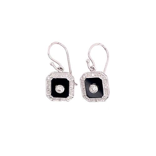 Onyx & Diamond Halo Drop Earrings