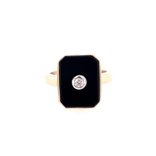 Emerald Cut Onyx & Diamond Ring