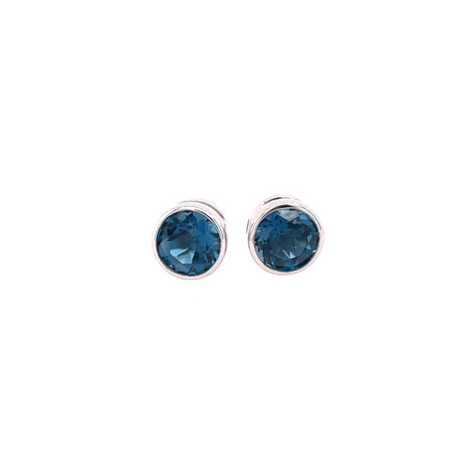 London Blue Topaz Bezel Earrings