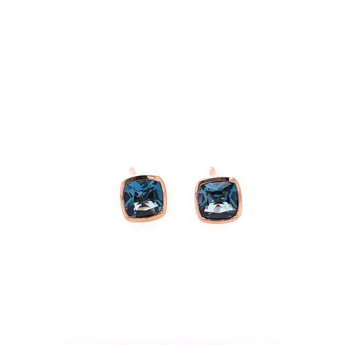 London Blue Topaz Bezel Earrings - Rose Gold