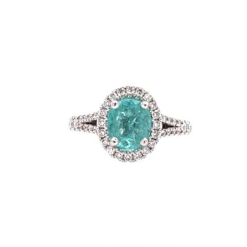 Paraiba & Diamond Halo Ring