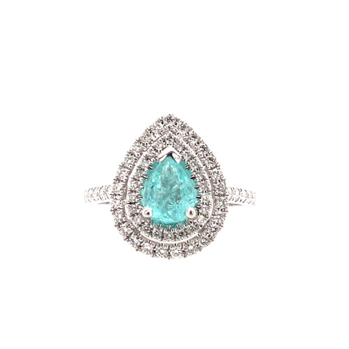 Paraiba & Diamond Double Halo Ring