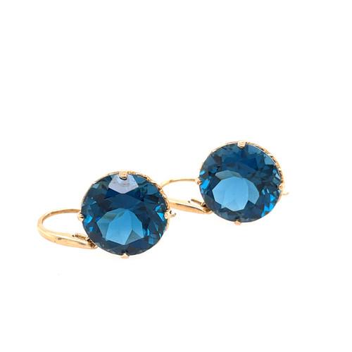 London Blue Topaz Earrings - Yellow Gold