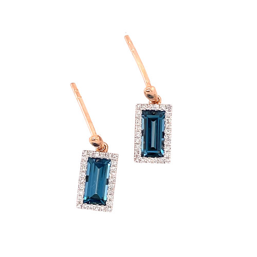London Blue Topaz & Diamond Earrings - Rose Gold