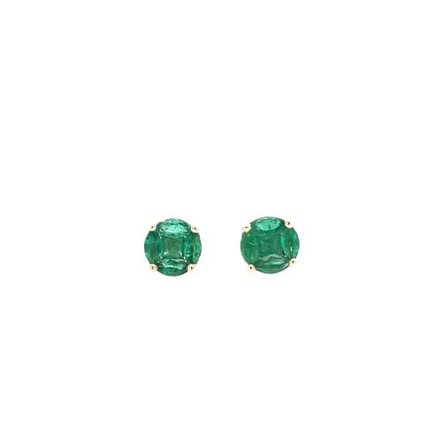 Emerald Cluster Stud Earrings