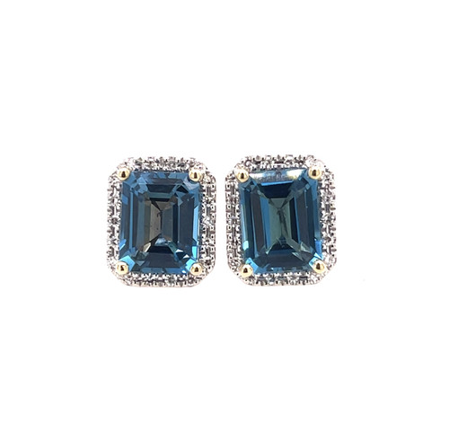 London Blue Topaz & Diamond Halo Statement Earrings