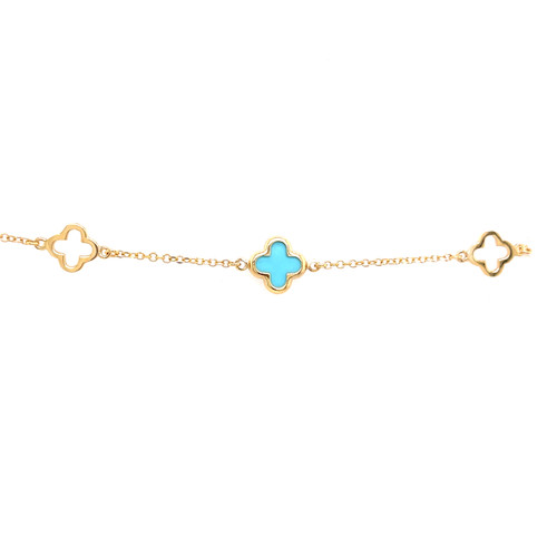 Clover & Turquoise Clover Bracelet - Yellow Gold