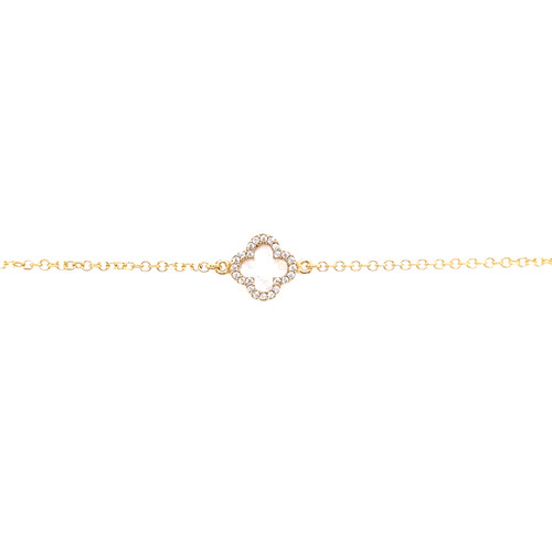 Mother Of Pearl Cubic Clover Bracelet - Yellow Gold