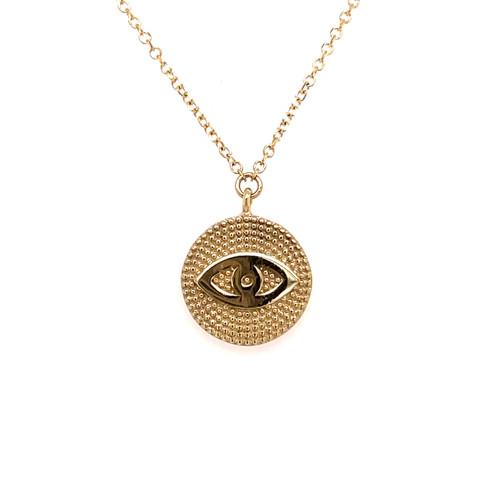 Milgrain Evil Eye Disc Necklace