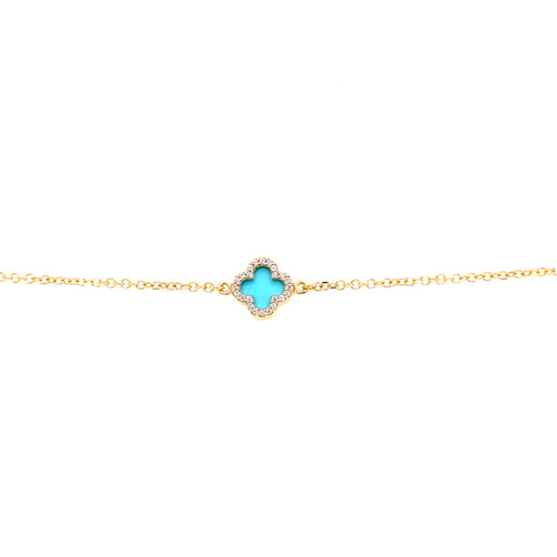 Turquoise Clover Cubic Bracelet - Yellow Gold