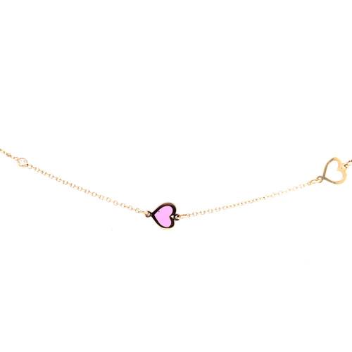 Enamel Heart Bracelet - Yellow Gold