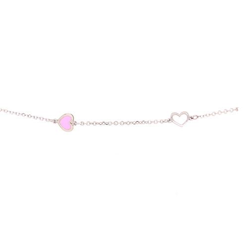 Enamel Heart Bracelet - White Gold