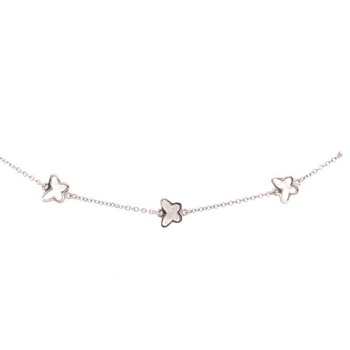 Butterfly Mother of Pearl Bracelet - White Gold