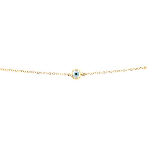 Mother of Pearl Evil Eye Bracelet - Yellow Gold