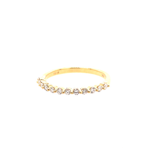 Mini Shared Claw Diamond Ring  - Yellow Gold