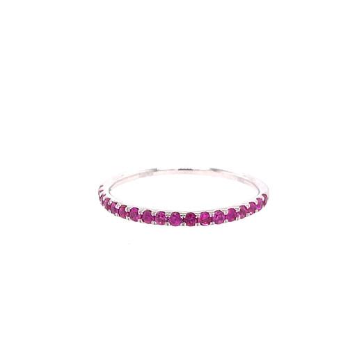 Pink Sapphire Mini Curve Band - White Gold