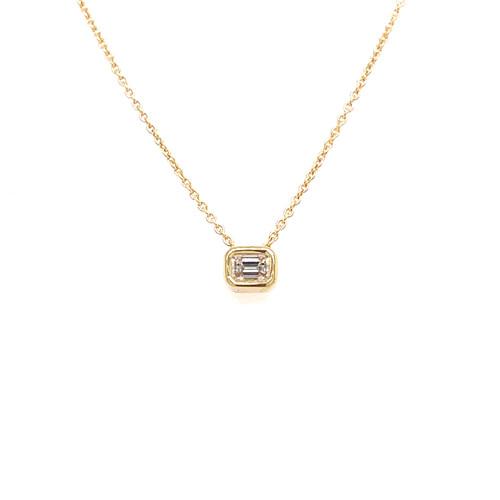 Emerald-Cut Diamond Slider Necklace