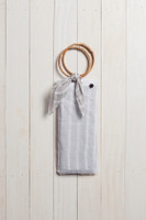 Linen Wrap with Bag in Grey and White Stripes