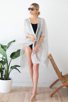 Linen Wrap with Bag in Grey and White Stripes on Model Front