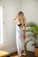 Linen Wrap with Bag in White on Model Back