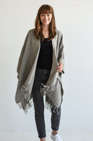 Travel Wrap with Bag in Driftwood on Model Front