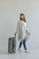 Travel Wrap with Bag in Sea Salt on Model Side Action