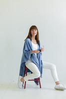 Travel Wrap with Bag in Atlantic Medium Blue on Model Sitting