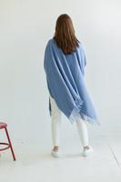 Travel Wrap with Bag in Atlantic Medium Blue on Model Back