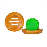 Round Bamboo Soap Dish with Conditioner Bar