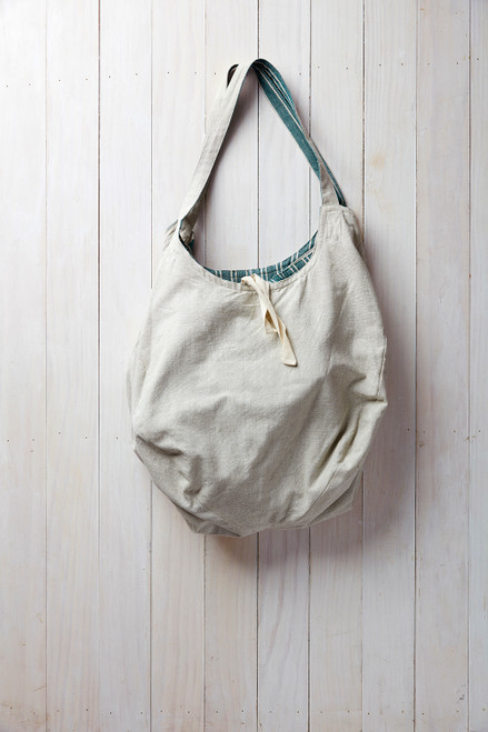 Reversible Cotton Tote in Natural / Green
