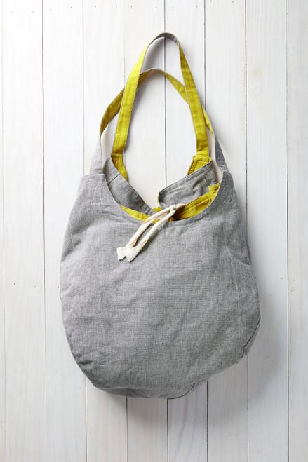 Reversible Cotton Tote in Dark Grey / Yellow
