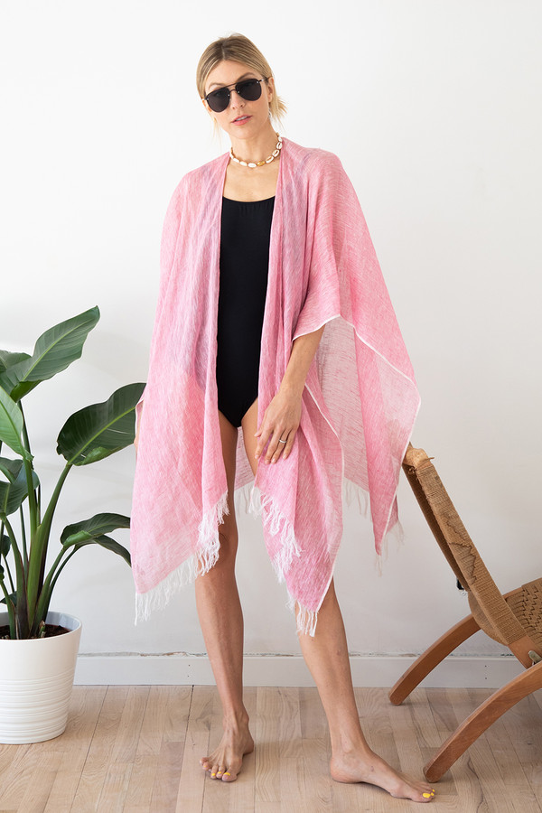 Linen Wrap with Bag in Pink on Model Front