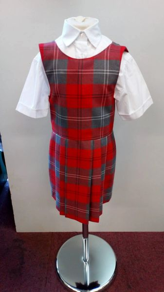 Classic Style Red / Grey Tartan Pinafore
