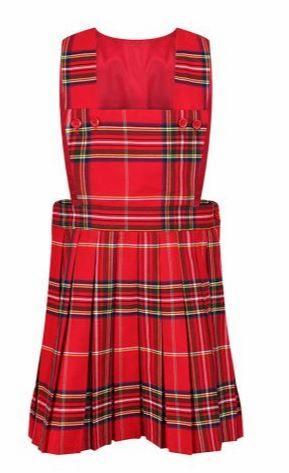 Modern Style Burgundy Red Stuart Tartan Pinafore