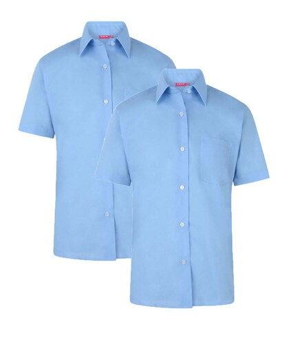 Girls Blue Blouses (Short Sleeved) 2 - Pack