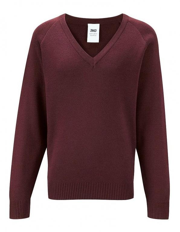 Netherlee Primary Burgundy Knitted V Neck Jumper