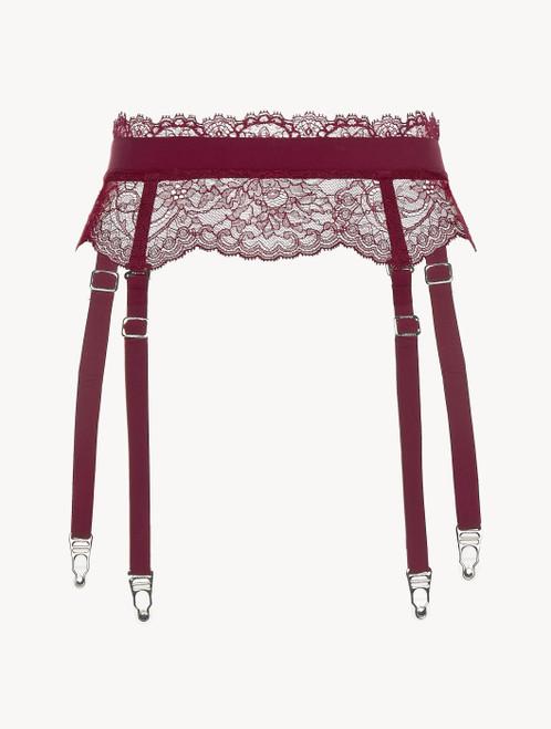 Cranberry Leavers lace suspender belt