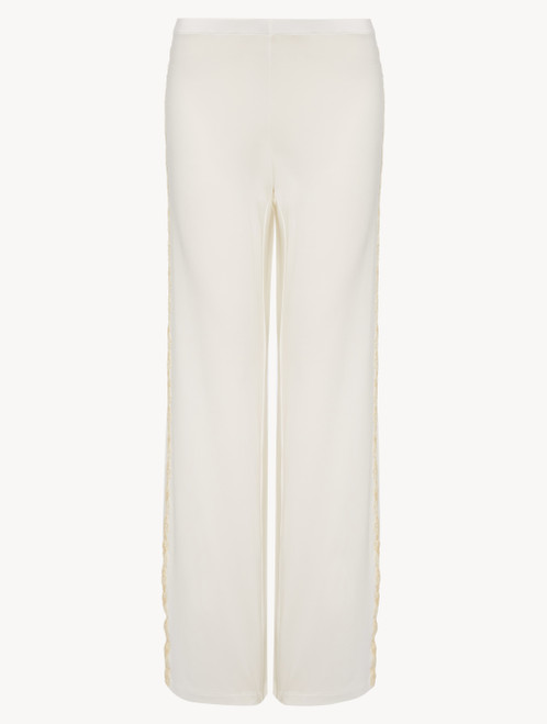 White plain jersey trousers