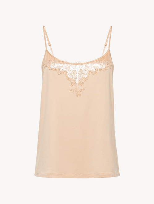 Camisole in pink modal jersey with embroidered tulle