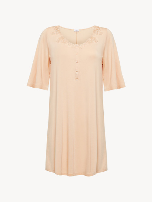 Short nightgown in pink modal jersey with embroidered tulle and button detail