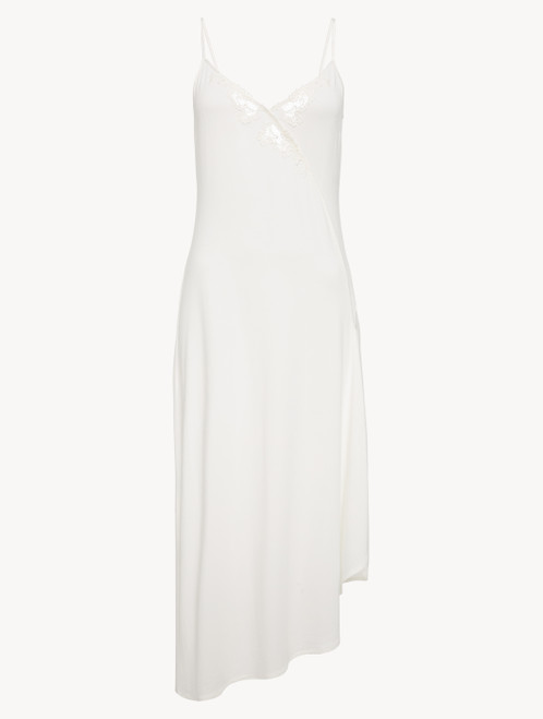 Long nightgown in whitemodal jersey with embroidered tulle and asymmetric cut