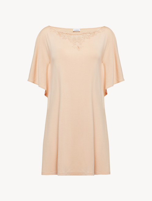 Short nightgown in pink modal jersey with embroidered tulle