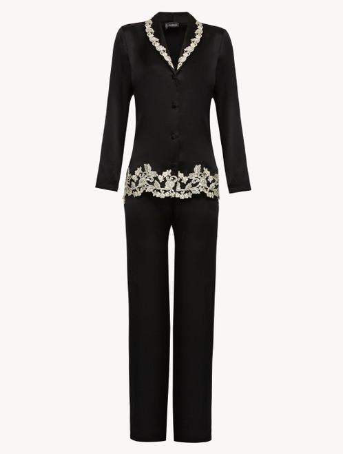 Silk pyjamas in black with ivory frastaglio