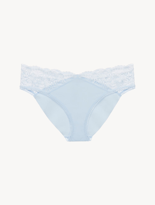 Blue Lycra Medium Brief with Leavers lace
