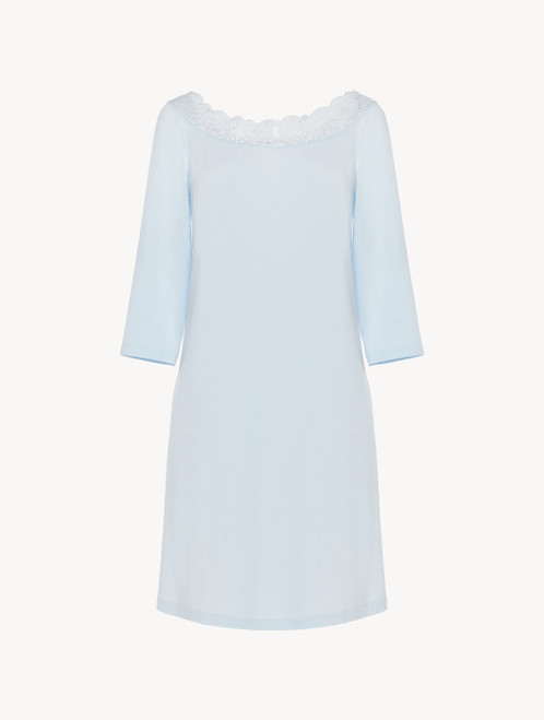 Nightgown in blue stretch modal jersey with Leavers lace