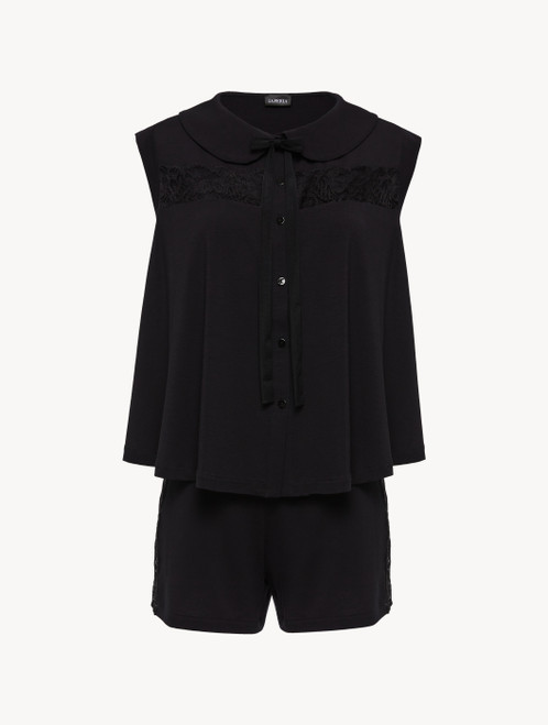 Black pyjamas in stretch modal jersey with Leavers lace